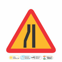 Reflective Left Traffic Lane Cautionary Warning Sign Board