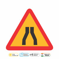 Reflective Undivided Carriageway Cautionary Warning Sign Board