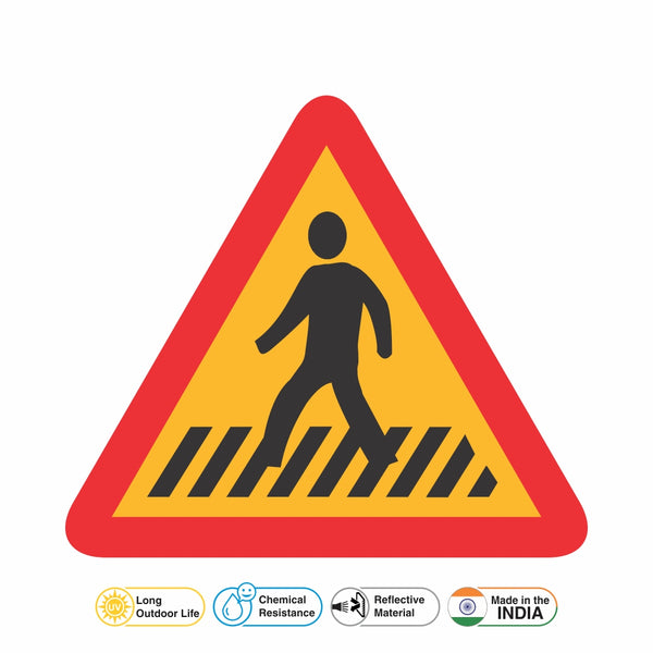 Reflective Pedestrian Crossing Cautionary Warning Sign Board