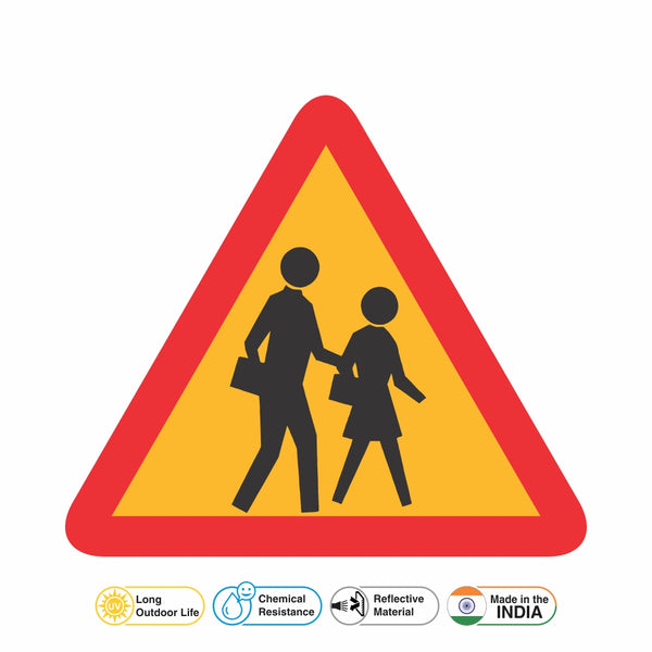 Reflective School Ahead Traffic Cautionary Warning Sign Board