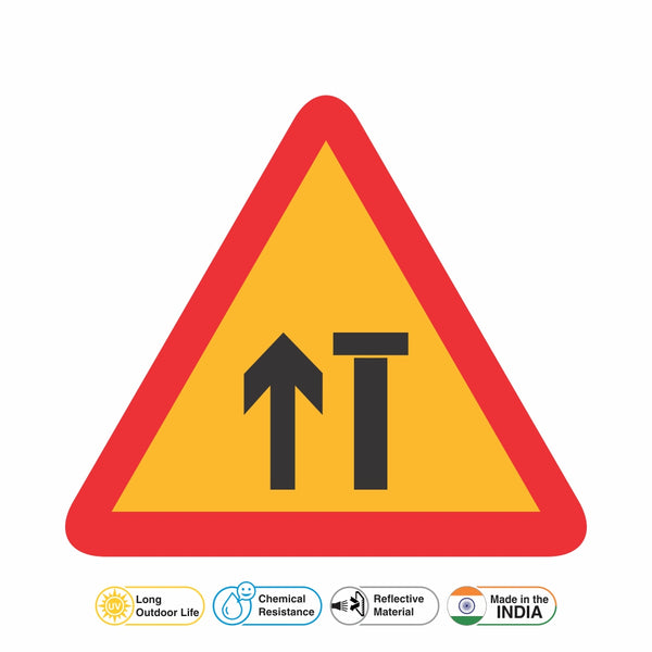 Reflective Lane Closed (R) (Two Lane Carriageway) Traffic Cautionary Warning Sign Board