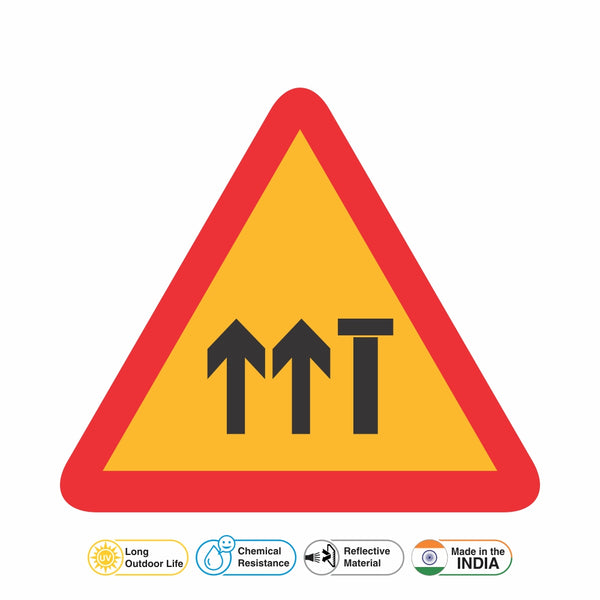 Reflective Lane Closed (Four Lane Carriageway) Traffic Cautionary Warning Sign Board