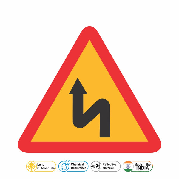 Reflective Left Reverse Bend Traffic Cautionary Warning Sign Board
