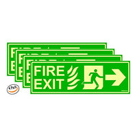 Glow in Dark Fire Exit Signboard right Arrow, 300 x 100 mm Pack of 4