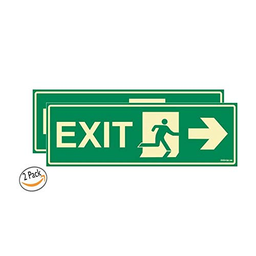 Glow In the Dark Emergency Exit Right Arrow signboard Pack of 2