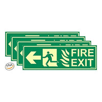 Glow in Dark Fire Exit Signboard Left Arrow, 300 x 100 mm