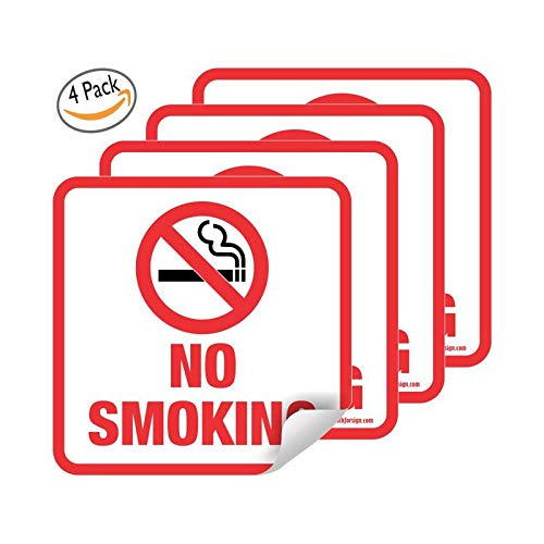 No Smoking Sign 5.5x5.5 inch Stickers Weather Resistant Long Lasting UV Protected pack of 4