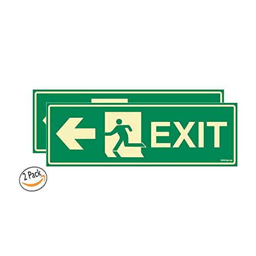 Glow In the Dark Emergency Exit LEFT Arrow signboard Pack of 2