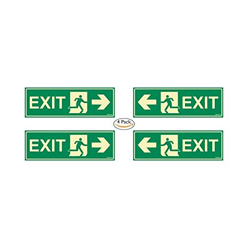 Glow In the Dark Emergency Exit Sign Combo pack of 4 right arrow P2,left arrow P2 300 x 100 mm