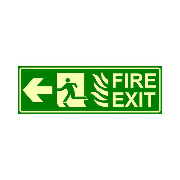 Glow in The Dark Emergency Fire Exit Sign Left Arrow