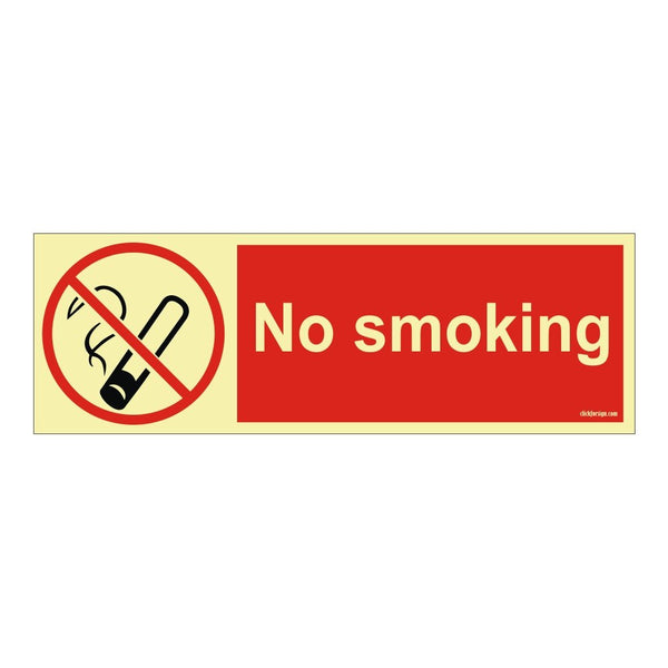 Glow In Dark No Smoking Deck And Engine Self Adhesive Vinyl Sticker