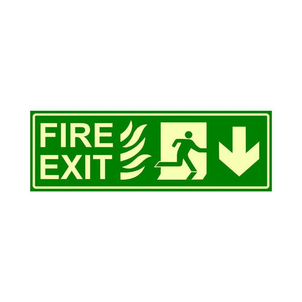 Glow in The Dark Emergency Fire Exit Sign Down Arrow