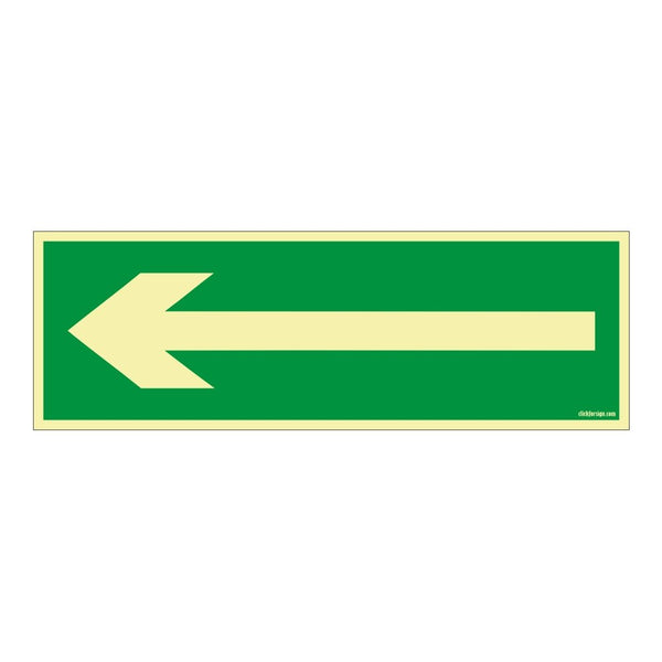 Glow In The Dark Left Arrow Direction Self Adhesive Vinyl Sticker