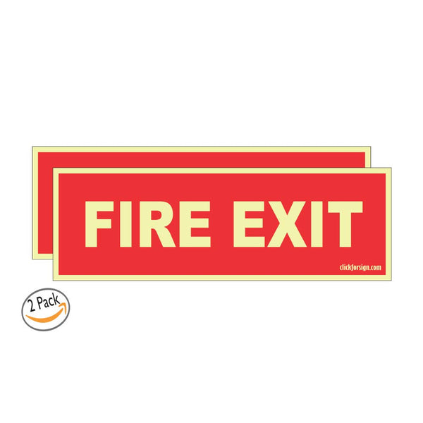 Glow In the Dark Fire Exit Direction Self Adhesive Vinyl Sticker (Pack of 2)