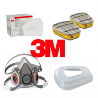 MEDICAL Combo (Starter pack) 3M Half Face piece Reusable Respirator 6200 Respiratory Protection, Medium with 6003 Cartridge +5N11 N95 Filter pads (10 pcs) + 501 Retainer