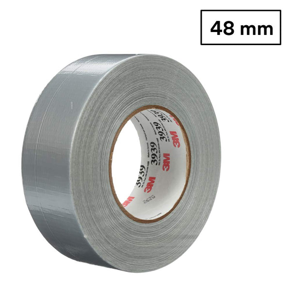 3M 3939 Heavy Duty Duct Tape, Silver, Rubber, 48 mm x 54.8 m, 9.0 mil