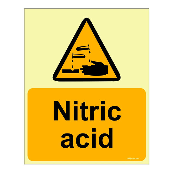 Glow in The Dark Nitric Acid Warning or Caution sign board