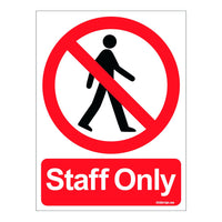 Staff Only Prohibition Sign Board