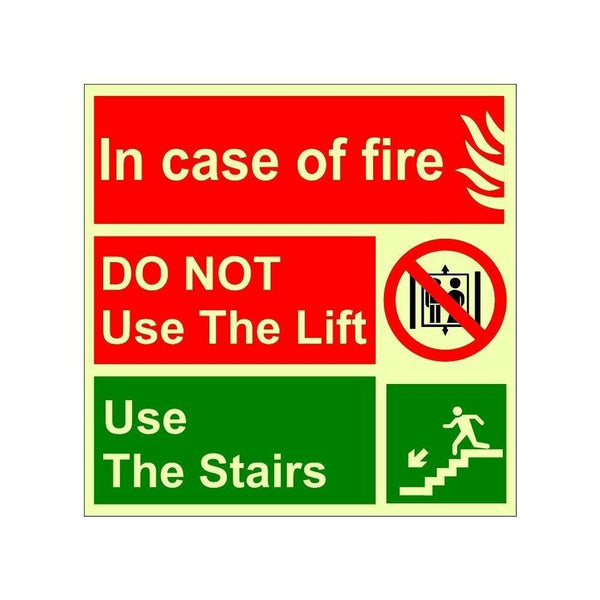 Glow in The Dark Emergency Incase of fire do not use lift  Sign Board