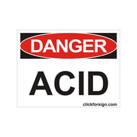 Danger ACID OSHA Safety Sign Board