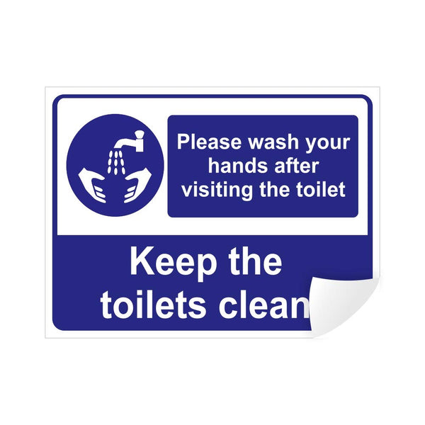 Please Wash Your Hands After Visiting The Toilet Sign Vinyl Sticker, 200 x 150 mm