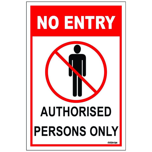 Authorised Persons Only Aluminum Sign Board For Walls And Doors (100X150mm) Pack of 2