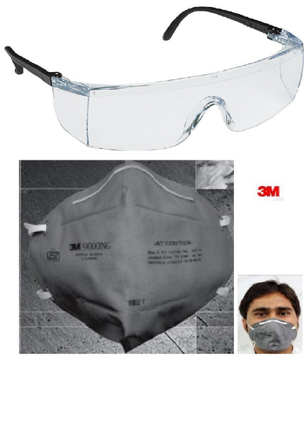 3M Full Eye Cover Bike Riding Goggles with Anti Pollution Face Mask. Pack of 2