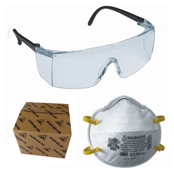 3M 1709 IN Safety Eye Wear Dust protection Bike riding and N95 8210 Health Care Particulate Respirator and Surgical Mask Combo