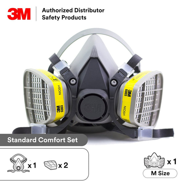 3M Half Face piece Reusable Respirator 6200/07025(AAD), Respiratory Protection, Medium Combo with 6003 Cartridge (1 set)