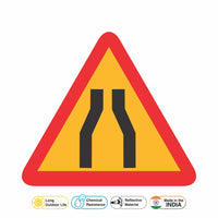 Reflective Narrow Road Ahead Cautionary Warning Sign Board