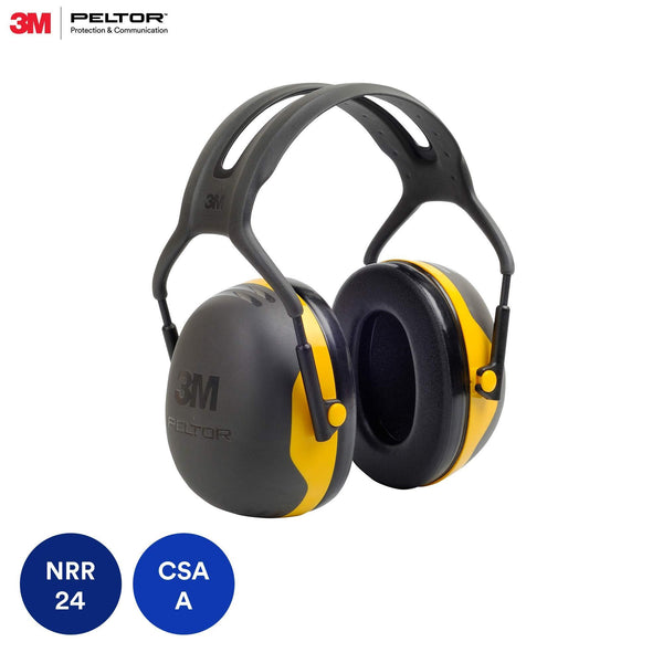 3M Peltor X2A Over-the-Head Earmuffs, Black and Yellow