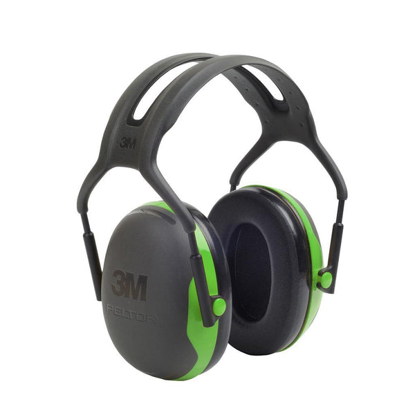 3M Peltor X1A Over-the-Head Earmuffs, Black and Green