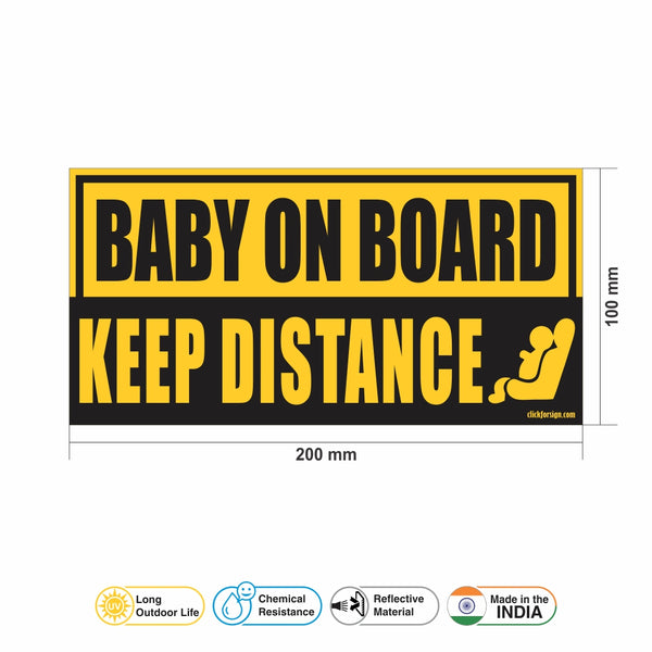 Premium Keep Distance Reflective Baby on board Sticker for Bumper