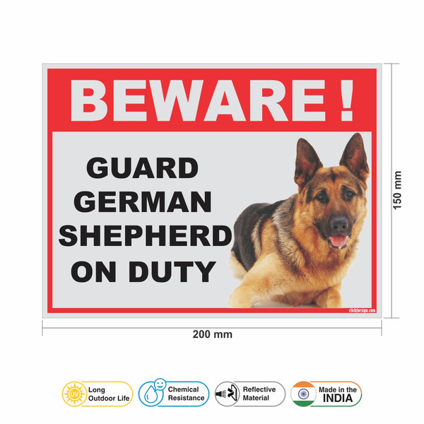 Beware of Guard German Shepherd on Duty Sign Board for walls ,doors and Gates