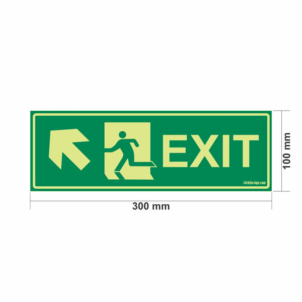 Glow In The Dark Emergency Exit Sign Left Up Arrow(300 x 100)