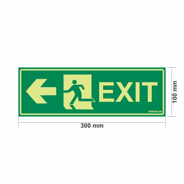 Glow in The Dark Emergency Exit Sign Left Arrow