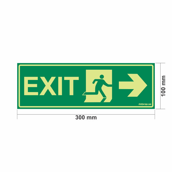 Glow in The Dark Emergency Exit Sign Right Arrow