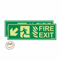 Glow In the Dark Emergency Fire Exit Sign Left Bottom Arrow Sign