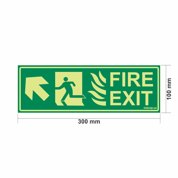 Glow in The Dark Fire Exit Sign Left Up Arrow