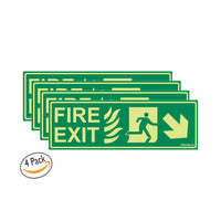 Glow in Dark Emergency Fire Exit Sign Right Bottom Arrow Sign Board, 300 x 100 mm