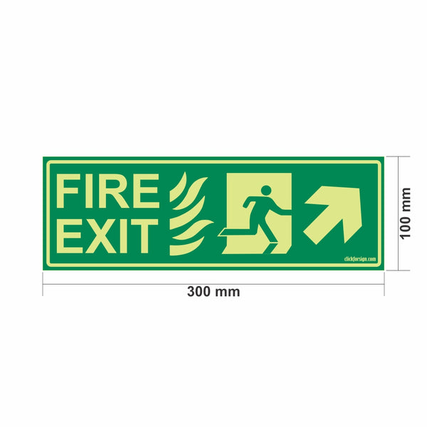 Glow in The Dark Fire Exit Sign Right Up Arrow