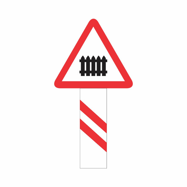 Reflective Guarded Railway Crossing (200 Meters) Cautionary Warning Sign Board