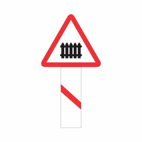 Reflective Guarded Railway Crossing (50-100 Meters) Cautionary Warning Sign Board