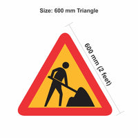 Reflective Man at work 600 mm triangle Cautionary Warning Sign Board