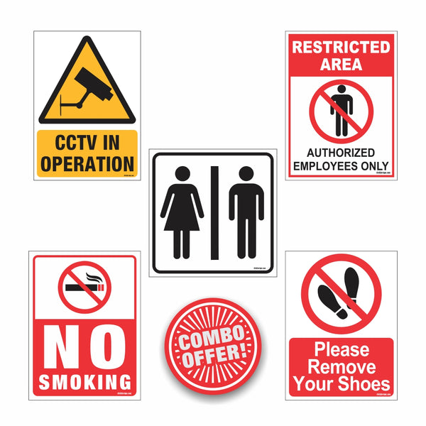 Office Sign combo 1 (No smoking, CCTV , Washroom , Toilet , Please remove shoes board
