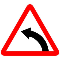 Reflective Left Hand Curve Traffic Cautionary Warning Sign Board