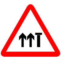 Reflective Lane Closed Traffic Cautionary Warning Sign Board (Two way carriageway)