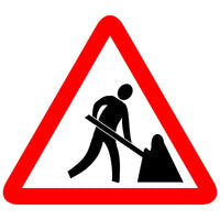 Reflective Men At Work Traffic  Cautionary Warning Sign Board