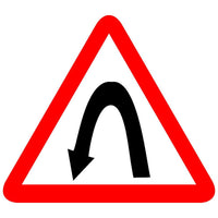 Reflective Left Hairpin Traffic Cautionary Warning Sign Board