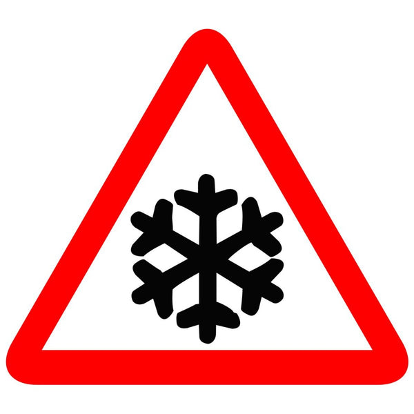 Reflective Slippery Road Due To Ice Cautionary Warning Sign Board